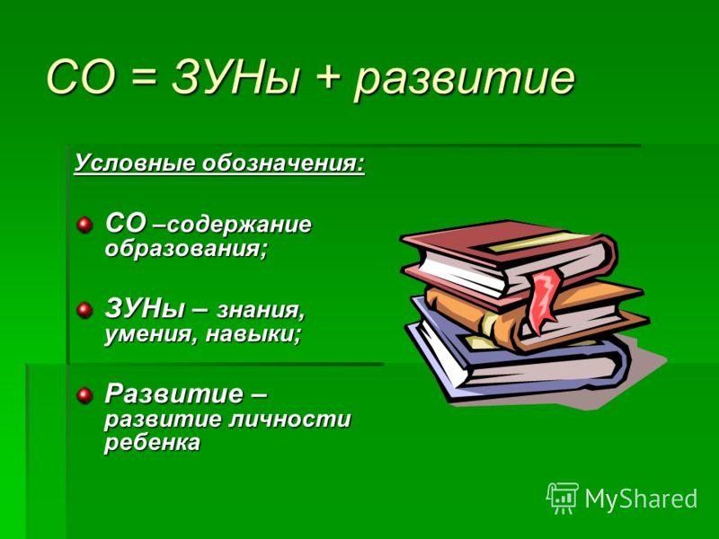 СО = ЗУНы + развитие Условные обозначения: СО –содержание образования; ЗУНы – знания, умения, навыки; Развитие – развитие личности ребенка