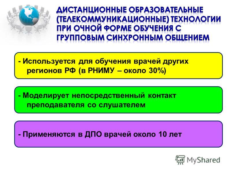 - Применяются в ДПО врачей около 10 лет - Используется для обучения врачей других регионов РФ (в РНИМУ – около 30%) - Моделирует непосредственный контакт преподавателя со слушателем
