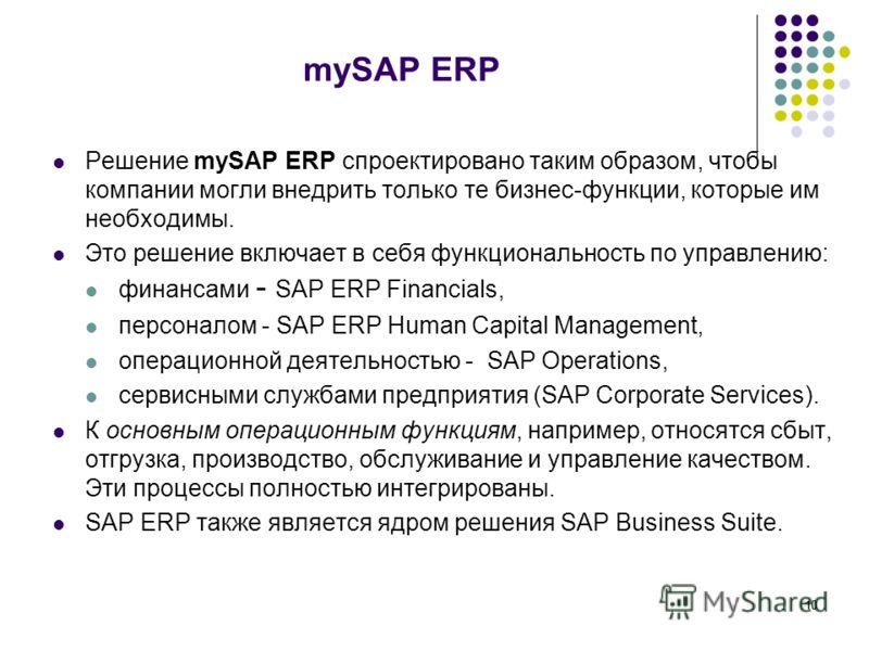 10 mySAP ERP Решение mySAP ERP спроектировано таким образом, чтобы компании могли внедрить только те бизнес-функции, которые им необходимы. Это решение включает в себя функциональность по управлению: финансами - SAP ERP Financials, персоналом - SAP E