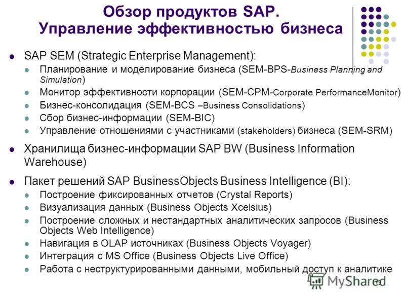 13 SAP SEM (Strategic Enterprise Management): Планирование и моделирование бизнеса (SEM-BPS- Business Planning and Simulation ) Монитор эффективности корпорации (SEM-CPM- Corporate PerformanceMonitor ) Бизнес-консолидация (SEM-BCS –Business Consolida