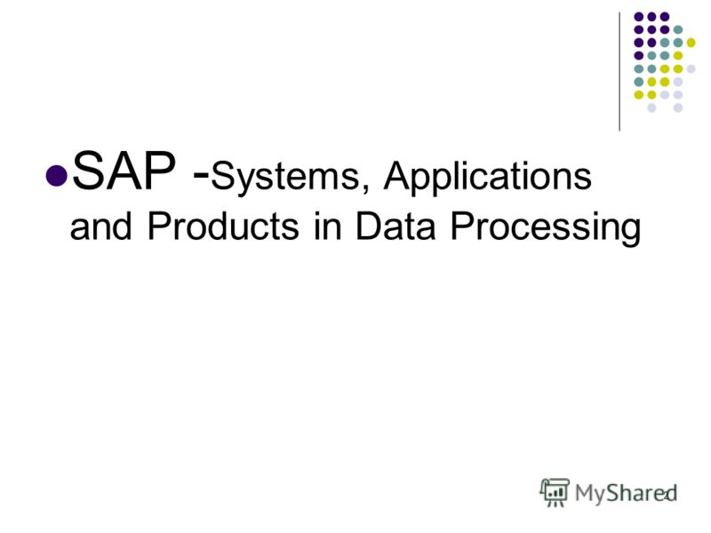 2 SAP - Systems, Applications and Products in Data Processing