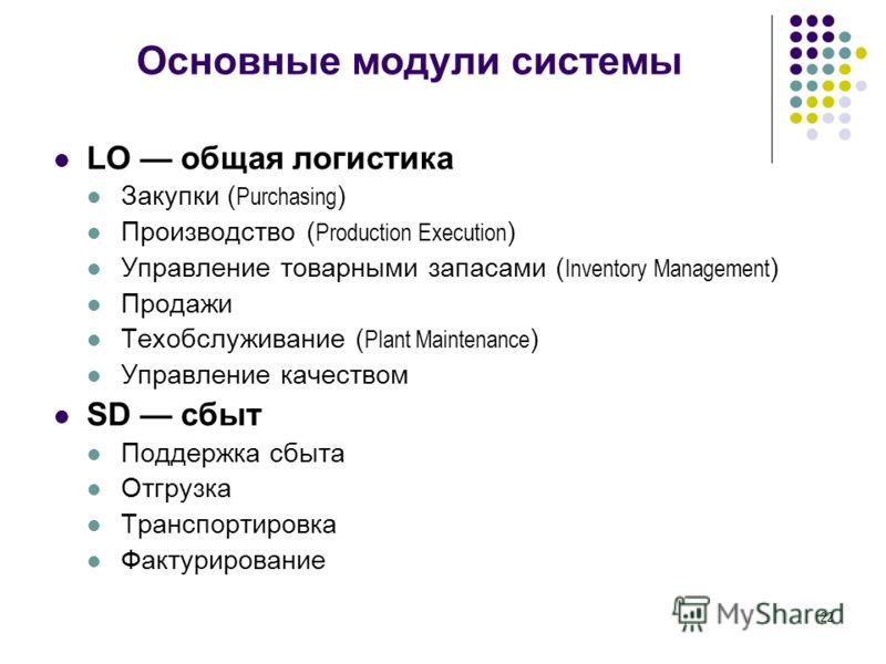 22 Основные модули системы LO общая логистика Закупки ( Purchasing ) Производство ( Production Execution ) Управление товарными запасами ( Inventory Management ) Продажи Техобслуживание ( Plant Maintenance ) Управление качеством SD сбыт Поддержка сбы