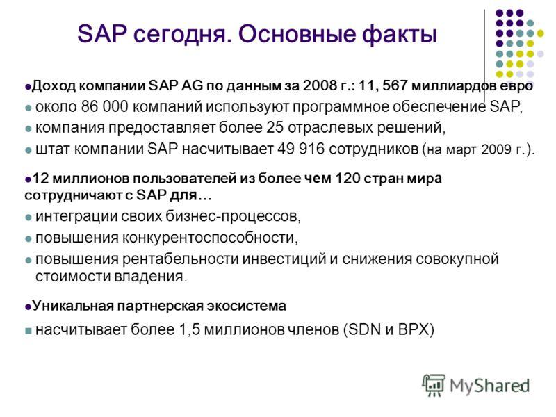 3 SAP сегодня. Основные факты Доход компании SAP AG по данным за 2008 г.: 11, 567 миллиардов евро около 86 000 компаний используют программное обеспечение SAP, компания предоставляет более 25 отраслевых решений, штат компании SAP насчитывает 49 916 с