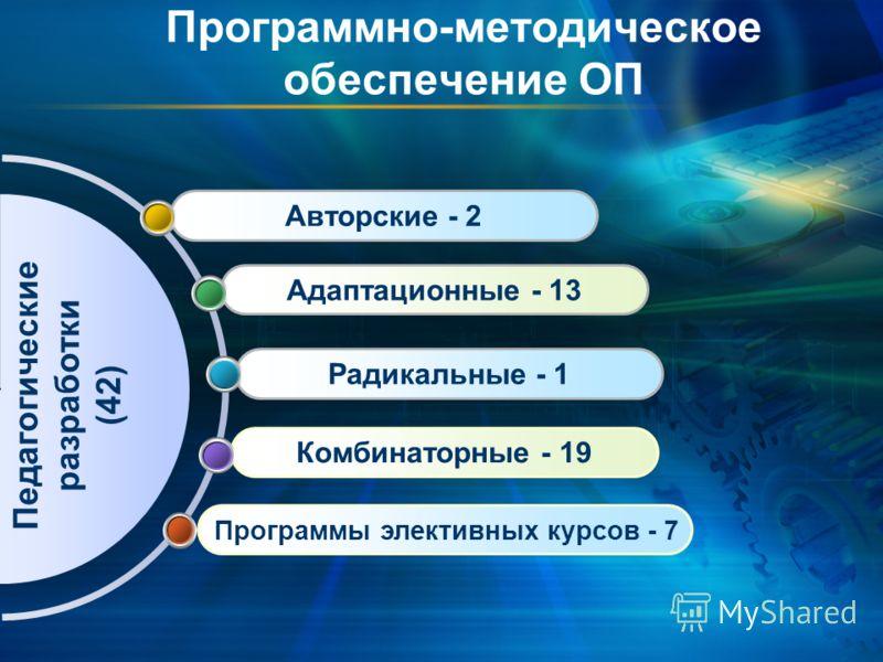 Программы элективных курсов - 7 Комбинаторные - 19 Радикальные - 1 Адаптационные - 13 Авторские - 2 Программно-методическое обеспечение ОП Педагогические разработки (42)