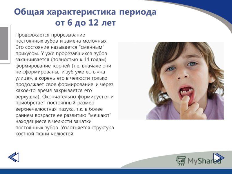 Общая характеристика периода от 6 до 12 лет Продолжается прорезывание постоянных зубов и замена молочных. Это состояние называется