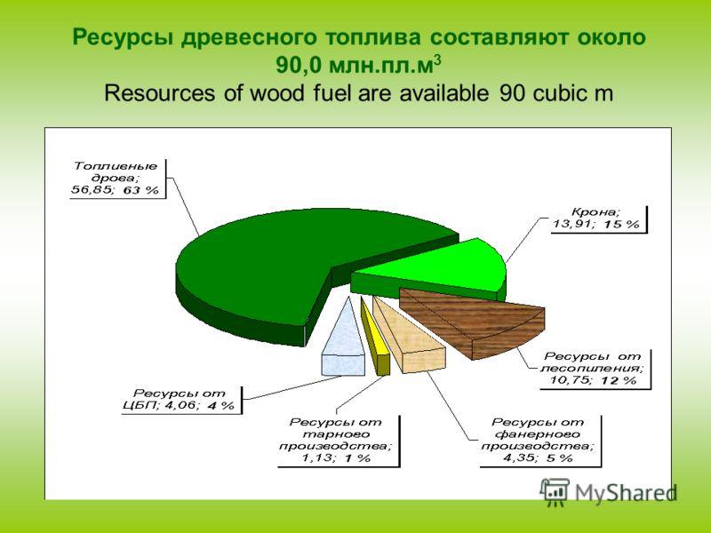 Ресурсы древесного топлива составляют около 90,0 млн.пл.м 3 Resources of wood fuel are available 90 cubic m