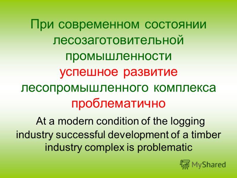 При современном состоянии лесозаготовительной промышленности успешное развитие лесопромышленного комплекса проблематично At a modern condition of the logging industry successful development of a timber industry complex is problematic