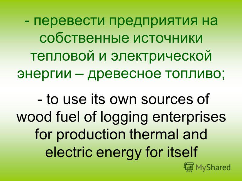 - перевести предприятия на собственные источники тепловой и электрической энергии – древесное топливо; - to use its own sources of wood fuel of logging enterprises for production thermal and electric energy for itself