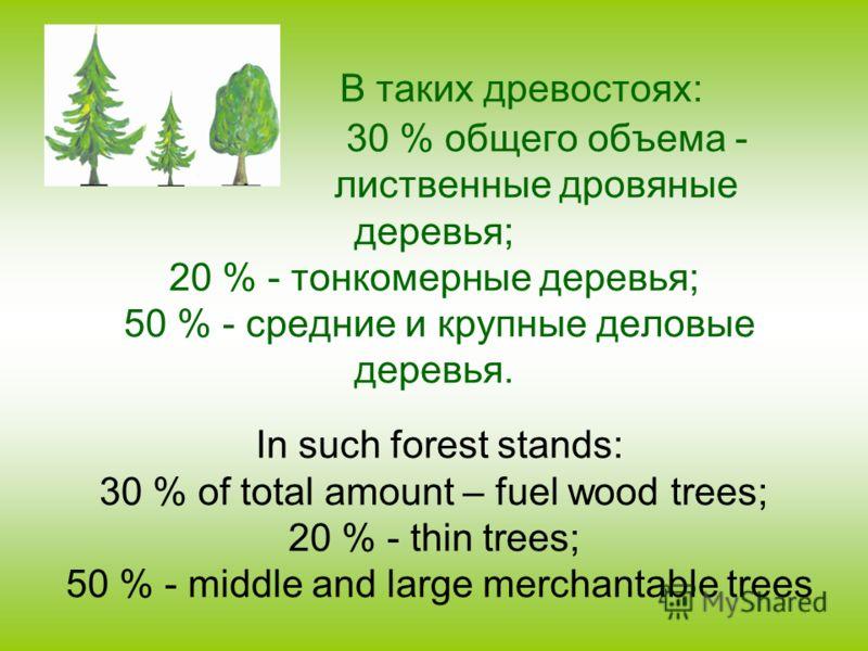 В таких древостоях: 30 % общего объема - лиственные дровяные деревья; 20 % - тонкомерные деревья; 50 % - средние и крупные деловые деревья. In such forest stands: 30 % of total amount – fuel wood trees; 20 % - thin trees; 50 % - middle and large merc