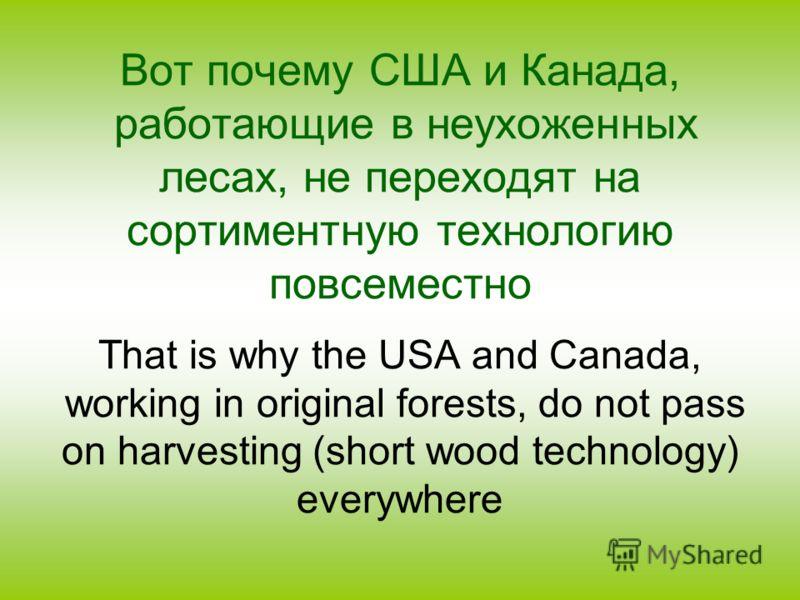Вот почему США и Канада, работающие в неухоженных лесах, не переходят на сортиментную технологию повсеместно That is why the USA and Canada, working in original forests, do not pass on harvesting (short wood technology) everywhere