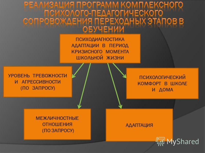 ПСИХОДИАГНОСТИКА АДАПТАЦИИ В ПЕРИОД КРИЗИСНОГО МОМЕНТА ШКОЛЬНОЙ ЖИЗНИ УРОВЕНЬ ТРЕВОЖНОСТИ И АГРЕССИВНОСТИ (ПО ЗАПРОСУ) МЕЖЛИЧНОСТНЫЕ ОТНОШЕНИЯ (ПО ЗАПРОСУ) АДАПТАЦИЯ ПСИХОЛОГИЧЕСКИЙ КОМФОРТ В ШКОЛЕ И ДОМА