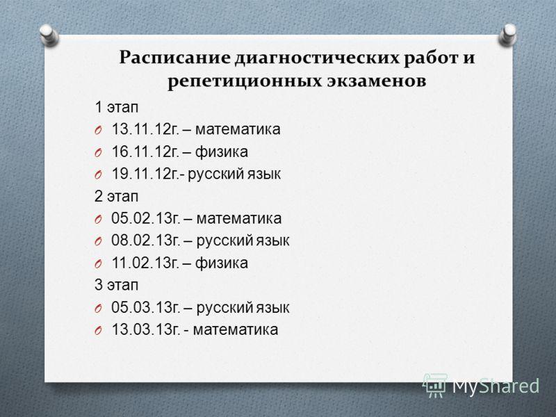 Расписание диагностических работ и репетиционных экзаменов 1 этап O 13.11.12 г. – математика O 16.11.12 г. – физика O 19.11.12 г.- русский язык 2 этап O 05.02.13 г. – математика O 08.02.13 г. – русский язык O 11.02.13 г. – физика 3 этап O 05.03.13 г.