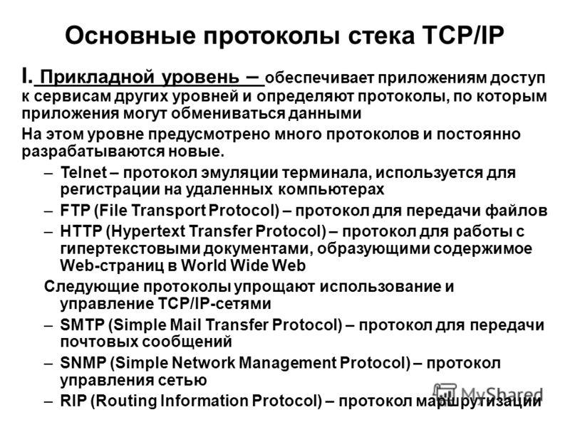 Основные протоколы стека TCP/IP I. Прикладной уровень – обеспечивает приложениям доступ к сервисам других уровней и определяют протоколы, по которым приложения могут обмениваться данными На этом уровне предусмотрено много протоколов и постоянно разра