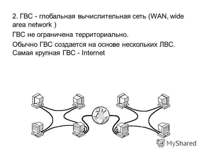 2. ГВС - глобальная вычислительная сеть (WAN, wide area network ) ГВС не ограничена территориально. Обычно ГВС создается на основе нескольких ЛВС. Самая крупная ГВС - Internet