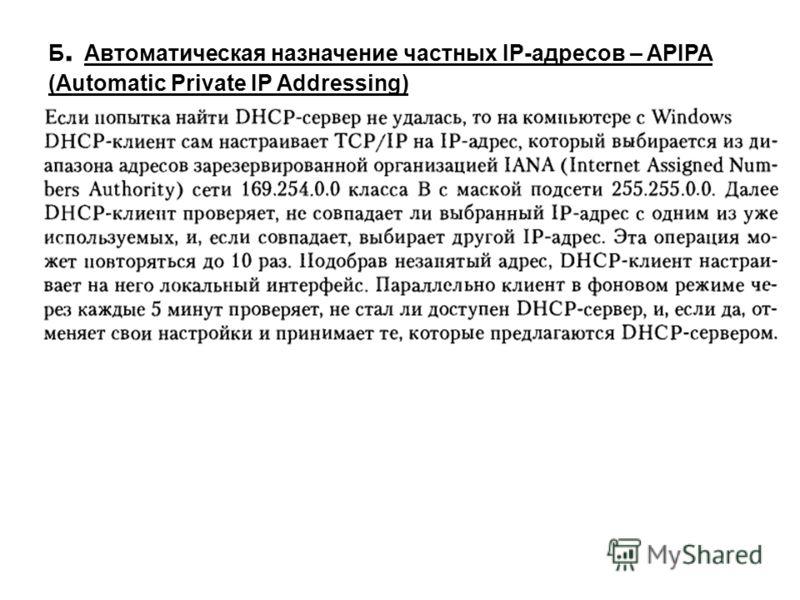 Б. Автоматическая назначение частных IP-адресов – APIPA (Automatic Private IP Addressing)