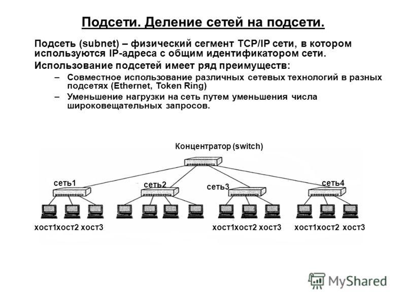 Подсети. Деление сетей на подсети. Подсеть (subnet) – физический сегмент TCP/IP сети, в котором используются IP-адреса с общим идентификатором сети. Использование подсетей имеет ряд преимуществ: –Совместное использование различных сетевых технологий