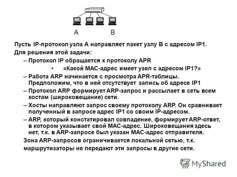 Пусть IP-протокол узла А направляет пакет узлу В c адресом IP1. Для решения этой задачи: –Протокол IP обращается к протоколу APR «Какой МАС-адрес имеет узел с адресом IP1?» –Работа ARP начинается с просмотра APR-таблицы. Предположим, что в ней отсутс