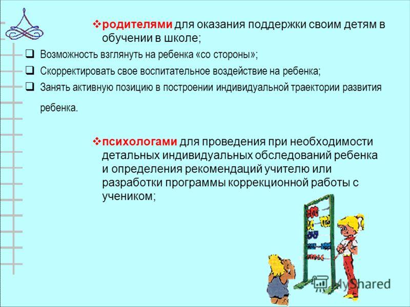 родителями для оказания поддержки своим детям в обучении в школе; Возможность взглянуть на ребенка «со стороны»; Скорректировать свое воспитательное воздействие на ребенка; Занять активную позицию в построении индивидуальной траектории развития ребен