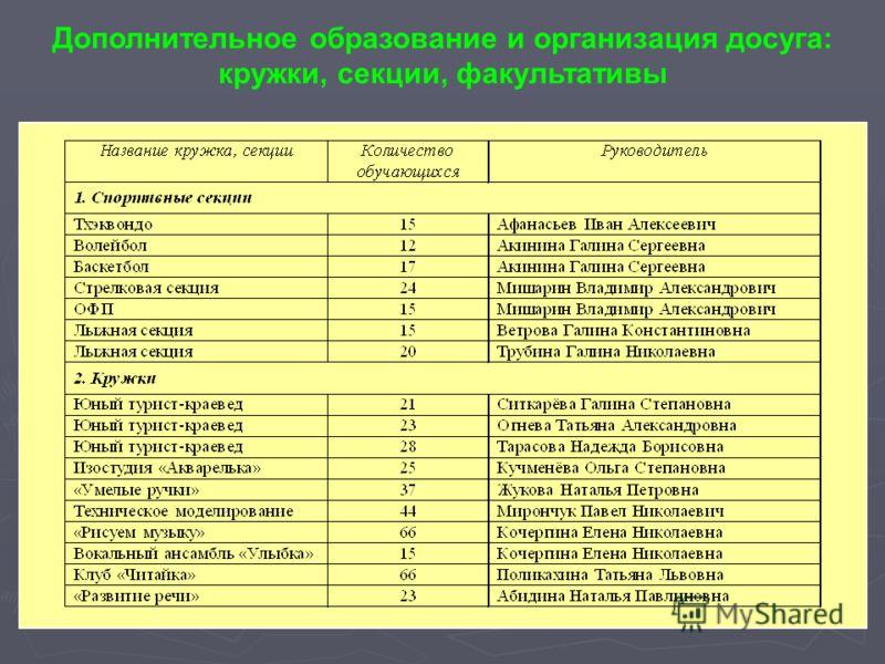 Дополнительное образование и организация досуга: кружки, секции, факультативы