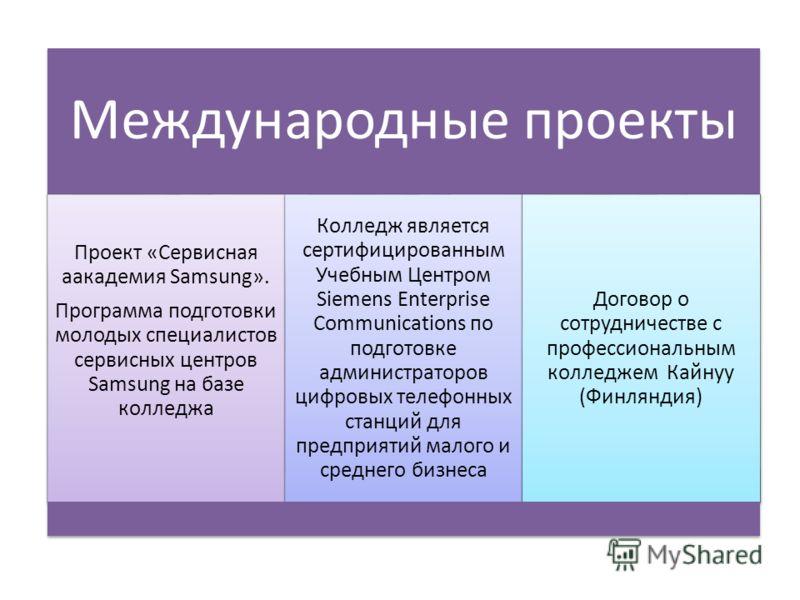 Международные проекты Проект «Сервисная aакадемия Samsung». Программа подготовки молодых специалистов сервисных центров Samsung на базе колледжа Колледж является сертифицированным Учебным Центром Siemens Enterprise Communications по подготовке админи