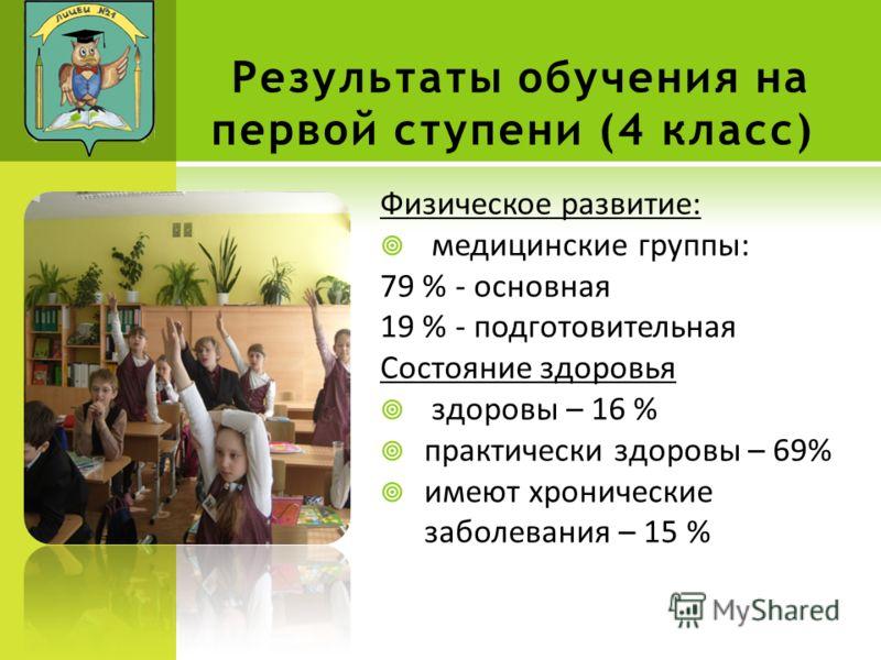 Результаты обучения на первой ступени (4 класс) Физическое развитие: медицинские группы: 79 % - основная 19 % - подготовительная Состояние здоровья здоровы – 16 % практически здоровы – 69% имеют хронические заболевания – 15 %