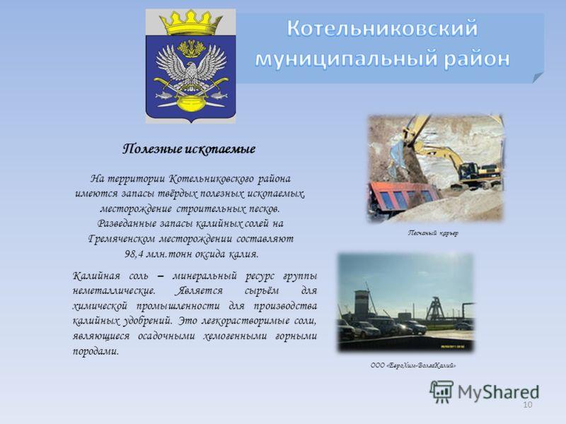 Полезные ископаемые На территории Котельниковского района имеются запасы твёрдых полезных ископаемых, месторождение строительных песков. Разведанные запасы калийных солей на Гремяченском месторождении составляют 98,4 млн.тонн оксида калия. Калийная с