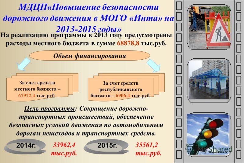 МДЦП«Повышение безопасности дорожного движения в МОГО «Инта» на 2013-2015 годы» На реализацию программы в 2013 году предусмотрены расходы местного бюджета в сумме 68878,8 тыс.руб. За счет средств местного бюджета – 61972,4 тыс.руб. Объем финансирован