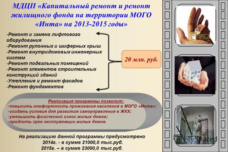 МДЦП «Капитальный ремонт и ремонт жилищного фонда на территории МОГО «Инта» на 2013-2015 годы» На реализацию данной программы предусмотрено 2014г. - в сумме 21000,0 тыс.руб. 2015г. – в сумме 23000,0 тыс.руб. -Ремонт и замена лифтового оборудования -Р