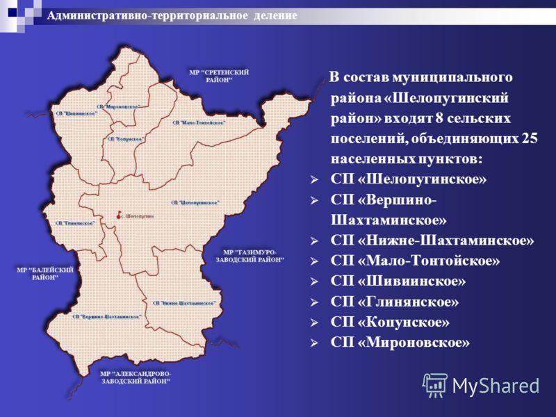 Административно-территориальное деление В состав муниципального района «Шелопугинский район» входят 8 сельских поселений, объединяющих 25 населенных пунктов: СП «Шелопугинское» СП «Вершино- Шахтаминское» СП «Нижне-Шахтаминское» СП «Мало-Тонтойское» С