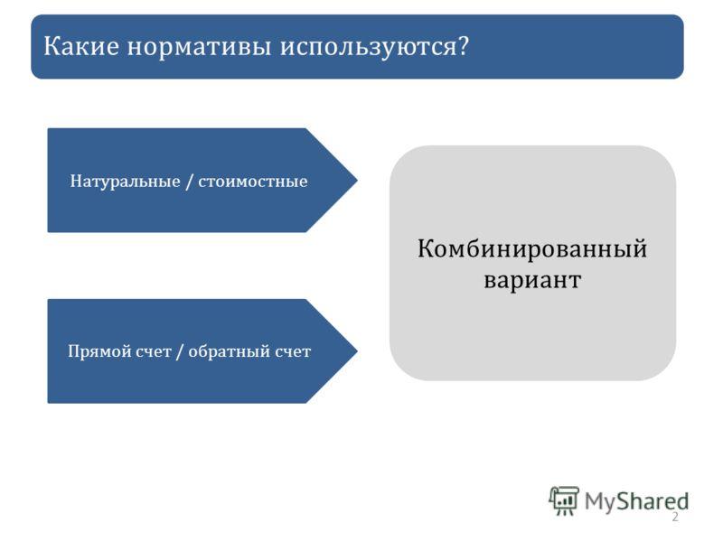 Какие нормативы используются? 2 Натуральные / стоимостные Прямой счет / обратный счет Комбинированный вариант