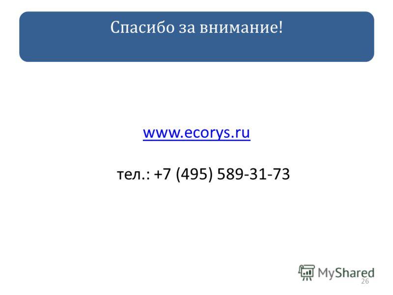Спасибо за внимание! www.ecorys.ru www.ecorys.ru тел.: +7 (495) 589-31-73 26