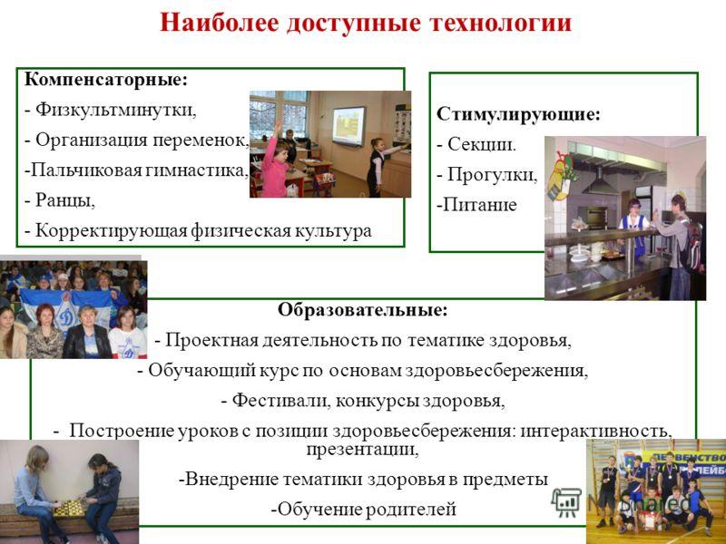 Наиболее доступные технологии Образовательные: - Проектная деятельность по тематике здоровья, - Обучающий курс по основам здоровьесбережения, - Фестивали, конкурсы здоровья, - Построение уроков с позиции здоровьесбережения: интерактивность, презентац