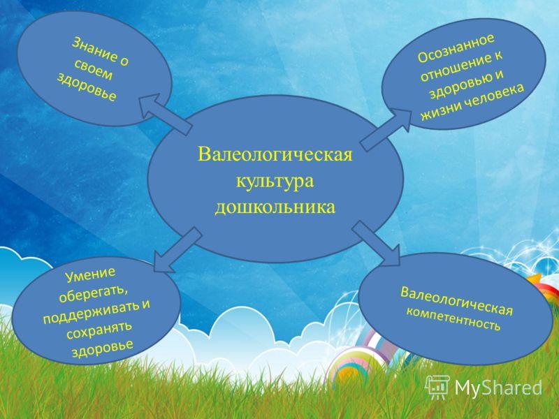 Валеологическая культура дошкольника Знание о своем здоровье Осознанное отношение к здоровью и жизни человека Умение оберегать, поддерживать и сохранять здоровье Валеологическая компетентность