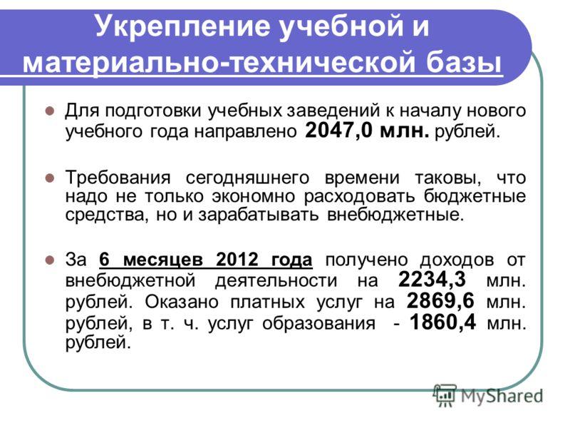 Укрепление учебной и материально-технической базы Для подготовки учебных заведений к началу нового учебного года направлено 2047,0 млн. рублей. Требования сегодняшнего времени таковы, что надо не только экономно расходовать бюджетные средства, но и з