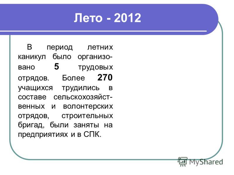 Лето - 2012 В период летних каникул было организо- вано 5 трудовых отрядов. Более 270 учащихся трудились в составе сельскохозяйст- венных и волонтерских отрядов, строительных бригад, были заняты на предприятиях и в СПК.