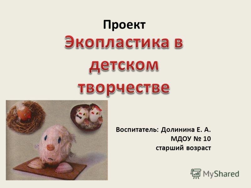 Проект Воспитатель: Долинина Е. А. МДОУ 10 старший возраст