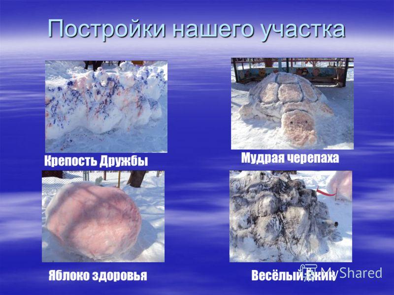 Постройки нашего участка Крепость Дружбы Мудрая черепаха Яблоко здоровьяВесёлый Ёжик