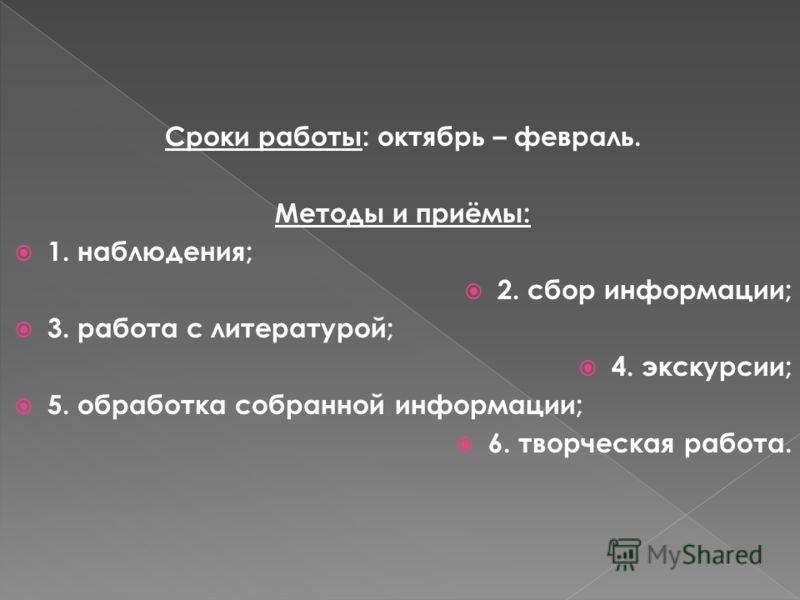 Сроки работы: октябрь – февраль. Методы и приёмы: 1. наблюдения; 2. сбор информации; 3. работа с литературой; 4. экскурсии; 5. обработка собранной информации; 6. творческая работа.