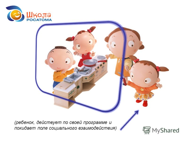 (ребенок, действует по своей программе и покидает поле социального взаимодействия)