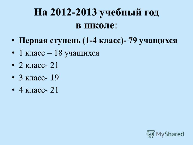 На 2012-2013 учебный год в школе: Первая ступень (1-4 класс)- 79 учащихся 1 класс – 18 учащихся 2 класс- 21 3 класс- 19 4 класс- 21