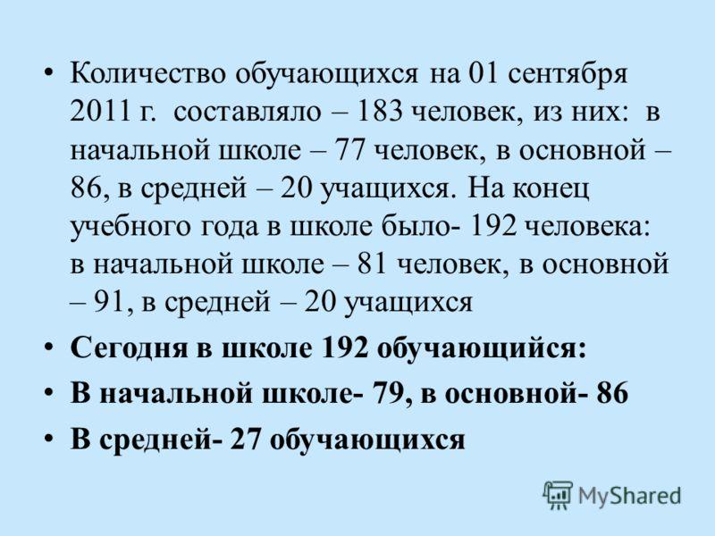 Количество обучающихся на 01 сентября 2011 г. составляло – 183 человек, из них: в начальной школе – 77 человек, в основной – 86, в средней – 20 учащихся. На конец учебного года в школе было- 192 человека: в начальной школе – 81 человек, в основной –