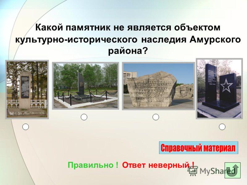 Какой памятник не является объектом культурно-исторического наследия Амурского района? Ответ неверный !Правильно !