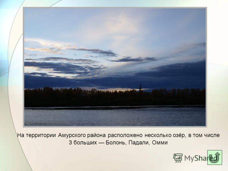 На территории Амурского района расположено несколько озёр, в том числе 3 больших Болонь, Падали, Омми