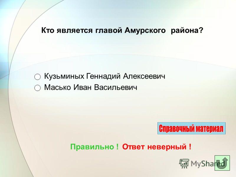 Кто является главой Амурского района? Масько Иван Васильевич Ответ неверный !Правильно ! Кузьминых Геннадий Алексеевич