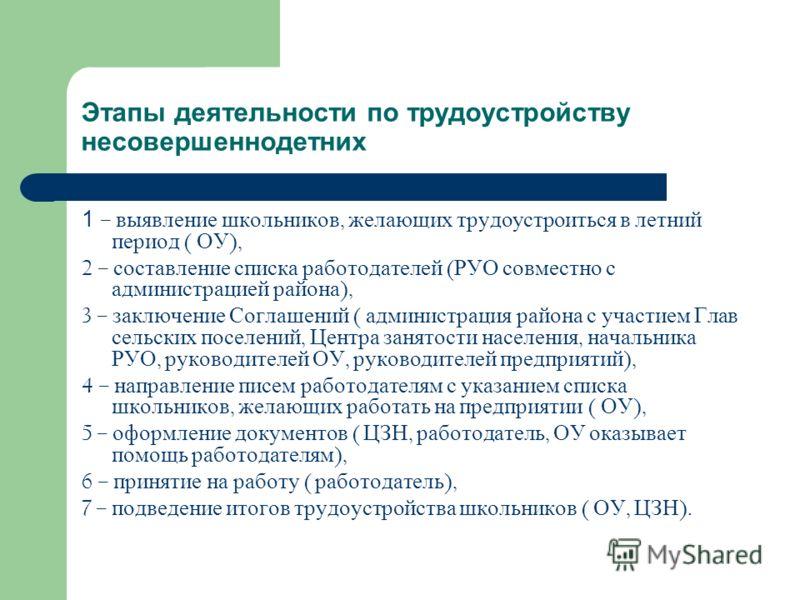 Этапы деятельности по трудоустройству несовершеннодетних 1 – выявление школьников, желающих трудоустроиться в летний период ( ОУ ), 2 – составление списка работодателей ( РУО совместно с администрацией района ), 3 – заключение Соглашений ( администра