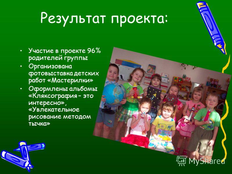 Результат проекта: Участие в проекте 96% родителей группы Организована фотовыставка детских работ «Мастерилки» Оформлены альбомы «Кляксография – это интересно», «Увлекательное рисование методом тычка»