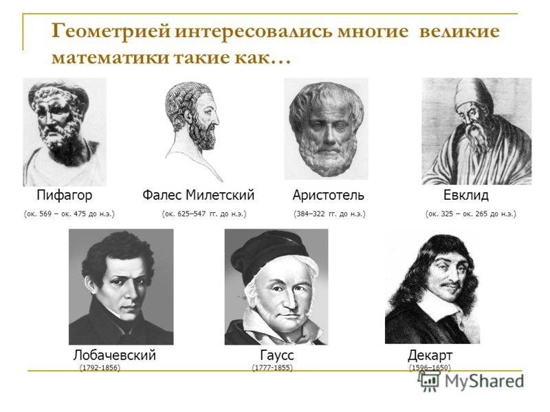Геометрией интересовались многие великие математики такие как… Пифагор Фалес Милетский Аристотель Евклид (ок. 569 – ок. 475 до н.э.) (ок. 625–547 гг. до н.э.) (384–322 гг. до н.э.) (ок. 325 – ок. 265 до н.э.) Лобачевский Гаусс Декарт (1792-1856) (177