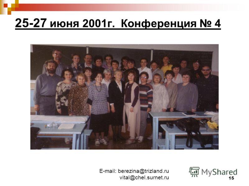 E-mail: berezina@trizland.ru vital@chel.surnet.ru 15 25-27 июня 2001г. Конференция 4