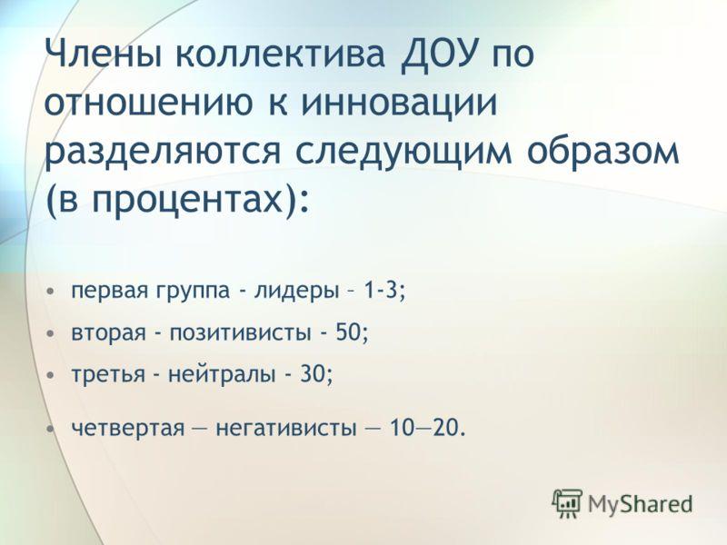 Члены коллектива ДОУ по отношению к инновации разделяются следующим образом (в процентах): первая группа - лидеры – 1-3; вторая - позитивисты - 50; третья - нейтралы - 30; четвертая негативисты 1020.