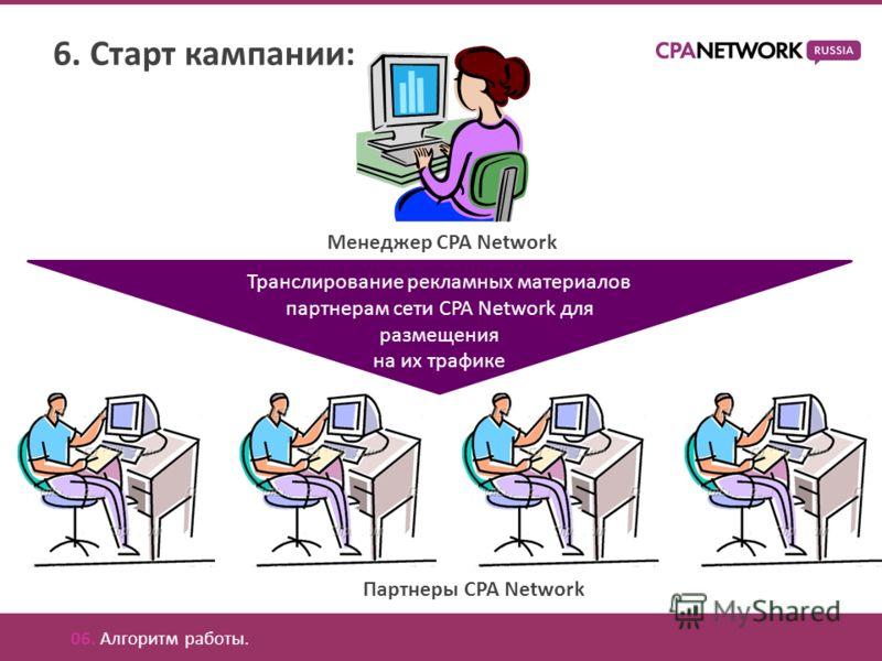 6. Старт кампании: Менеджер CPA Network Транслирование рекламных материалов партнерам сети CPA Network для размещения на их трафике 06. Алгоритм работы. Партнеры CPA Network